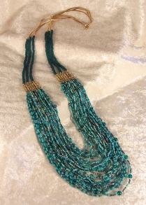 Green Cascade Necklace, glass and brass beads (private collection)